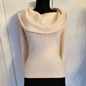 Bebe Ivory Silk Angora Blend Cowl Neck Sweater -S